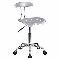 Flash Furniture Vibrant Silver and Chrome Computer Task Chair with Tractor Seat Model LF-214-SILVER-GG