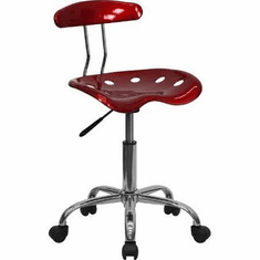 Flash Furniture Vibrant Wine Red and Chrome Computer Task Chair with Tractor Seat Model LF-214-WINERED-GG