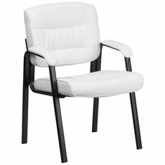 Flash Furniture White Leather Executive Side Chair or Reception Chair with Mahogany Legs Model BT-1404-WH-GG