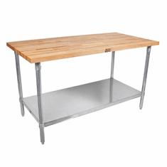 """John Boos Jns 1-1/2 Thick MapleTop Work Table Galvanized Base And Shelf 96X36X1-1/2 W/Sct-Oil Galv Shf & 5"""" Locking Casters (Made In The USA), Model# JNS20C"""