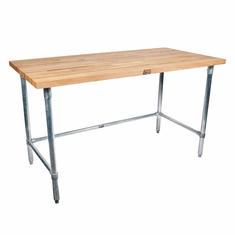 """John Boos Snb 1-3/4 Thick MapleTop Work Table Ss Base And Bracing 96X24X1-3/4 W/Sc-Oil 5"""" Locking Casters (Made In The USA), Model# SNB05C"""