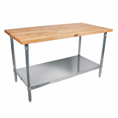 """John Boos Tns 2-1/4 Thick MapleTop Work Table Ss Base And Shelf 120X24X2-1/4 Bksc Ss Shf 5"""" Locking Casters (Made In The USA), Model# TNS06C"""