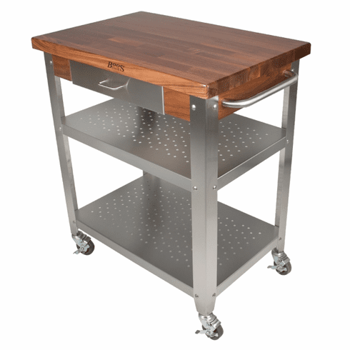 John Boos Wal-Cuce Blended Walnut Cucina Elegante Cart 30X20X1-1/2 Varnique  Finish (Made In The USA), Model# WAL-CUCE30