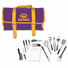 King Kooker 16 Piece Tailgating Utensil Set With Purple And Gold Carrying Case, Model# 1661