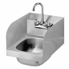 """Krowne Metal 12"""" Wide Space Saver Hand Sink With Side Splashes, Low Lead Compliant, Model# HS-30L"""