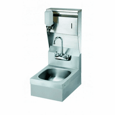 """Krowne Metal 12"""" Wide Space Saver Hand Sink With Soap & Towel Dispenser And P-Trap With Overflow, Model# HS-37"""