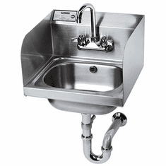 """Krowne Metal 16"""" Wide Hand Sink With Side Splashes And P-Trap With Overflow, Model# HS-5"""