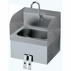 """Krowne Metal 16"""" Wide Hand Sink With Side Splashes With Knee Valve, Model# HS-41"""