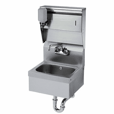 """Krowne Metal 16"""" Wide Hand Sink With Soap & Towel Dispenser And P-Trap With Overflow, Model# HS-8"""