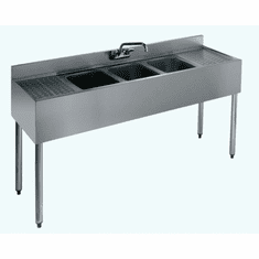 """Krowne Metal 1800 Series 60"""" Three Compartment Bar Sink, 12"""" Drainboards On Left/Right, Model# 18-53C"""