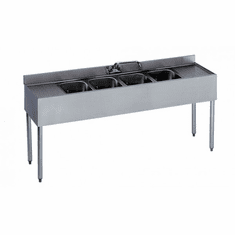 "Krowne Metal 1800 Series 72"" Four Compartment Bar Sink, 12"" Drainboards On Left/Right, Model# 18-64C"