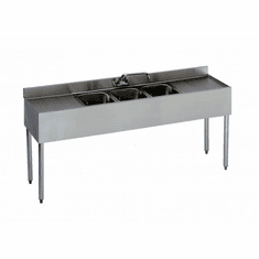 """Krowne Metal 1800 Series 72"""" Three Compartment Bar Sink, 18"""" Drainboards On Left/Right, Model# 18-63C"""