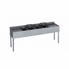 "Krowne Metal 1800 Series 84"" Four Compartment Bar Sink, 18"" Drainboards On Left/Right, Model# 18-74C"