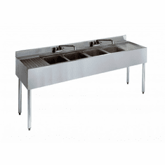 "Krowne Metal 2100 Series 72"" Four Compartment Bar Sink, 12"" Drainboards On Left/Right, Model# 21-64C"