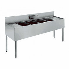 "Krowne Metal Royal 1800 Series 72"" Four Compartment Bar Sink, 12"" Drainboards On Left/Right, Model# KR18-64C"