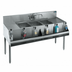 """Krowne Metal Royal 1800 Series 72"""" Three Compartment Bar Sink, 18"""" Drainboards On Left/Right, Model# KR18-63C"""