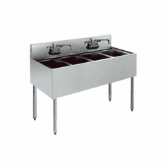 "Krowne Metal Royal 2100 Series 48"" Four Compartment Bar Sink, Model# KR21-44C"