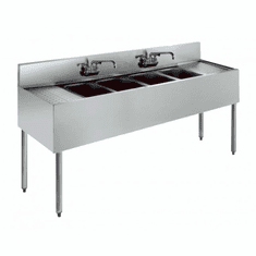 "Krowne Metal Royal 2100 Series 72"" Four Compartment Bar Sink, 12"" Drainboards On Left/Right, Model# KR21-64C"