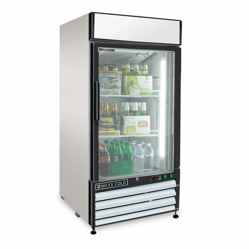 Maxx Cold X-Series 12 Cu Ft Glass Door Merchandiser Refrigerator Stainless Exterior, Model# MXM1-12RHC