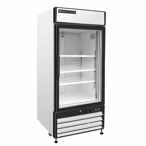 Maxx Cold X-Series 16 Cu Ft Glass Door Merchandiser Refrigerator Stainless Exterior, Model# MXM1-16RHC
