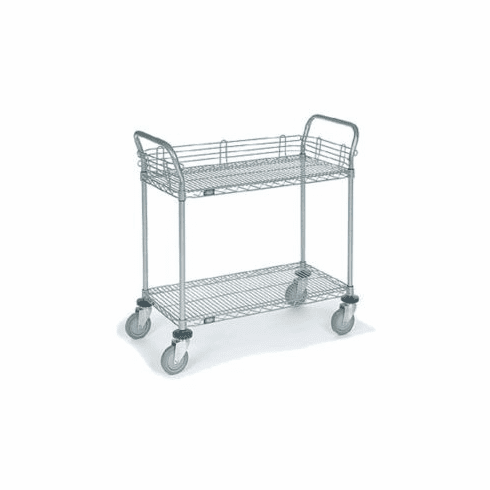Nexel Chrome 18X30 2 Shelf Utility Cart--Pneumatic Caster, Model# 1830N2C