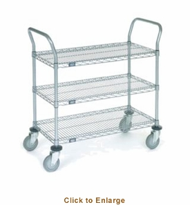 Nexel Chrome 18X30 2 Shelf Utility Cart-Polyurethane Casters, Model# 1830P2CB