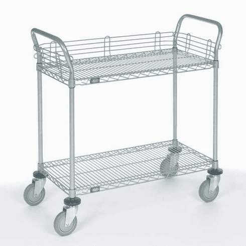 Nexel Chrome 18X36 2 Shelf Utility Cart-Pneumatic Caster, Model# 1836N2C