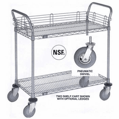 Nexel Chrome 21X36 2 Shelf Utility Cart-Polyurethane Casters, Model# 2136P2C
