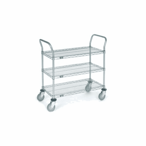 Nexel Chrome 21X42 3 Shelf Utility Cart--Pneumatic Caster, Model# 2142N3C