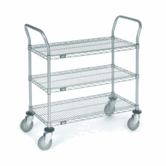 Nexel Chrome 21X42 3 Shelf Utility Cart--Polyurethane Caster, Model# 2142P3C