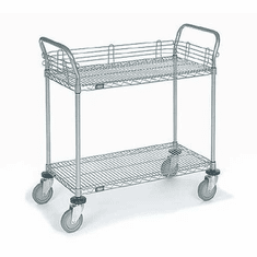 Nexel Chrome 24X36 2 Shelf Utility Cart-Pneumatic Caster, Model# 2436N2C
