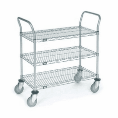 Nexel Chrome 24X42 3 Shelf Utility Cart--Pneumatic Caster, Model# 2442N3C