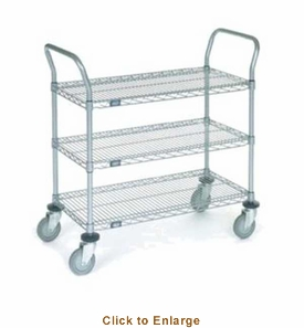 Nexel Chrome 24X48 3 Shelf Utility Cart--Polyurethane Caster, Model# 2448P3C
