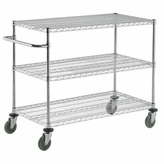 "Nexel Mail Cart Chrome 22""W X 44""L X 35""H, Model# SC16362"