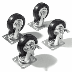 "Nexel Plate Caster Set 5"" Mold-On Rubber 2 Swivel 2 Brake 1400 Lb. Capacity, Model# CAP5BR"