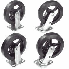 "Nexel Plate Caster Set 8"" Mold-On Rubber 2 Swivel 2 Rigid 2400 Lb. Capacity, Model# CAP8RSR"