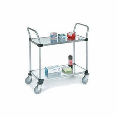 Nexel Stainless Steel 24X36 2 Shelf Solid Shelf Cart, Model# 2436P2SSB