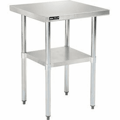 "Nexel Stainless Steel Work Table 24""W x 24""L Lower Shelf 18 Gauge 430 Series Stainless Steel, Model# WB2424SS"