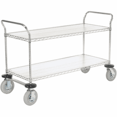 "Nexel Utility Cart 2 Shelf Chrome 21""W x 42""L x 42""H Pneumatic 2 Swivel 2 Rigid Casters, Model# 2142N2C"