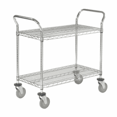 "Nexel Utility Cart 2 Shelf Chrome 24""W x 36""L x 39""H Polyurethane 4 Swivel 2 Brake Casters, Model# 2436P2CB"