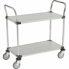 "Nexel Utility Cart 2 Shelf Solid Galvanized 24""W x 36""L x 39""H Polyurethane 4 Swivel 2 Brake Casters, Model# 2436P2SZB"