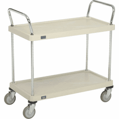 "Nexel Utility Cart 2 Shelf Solid Plastic 24""W x 48""L x 39""H Polyurethane 4 Swivel 2 Brake Casters, Model# 2448P2SPB"