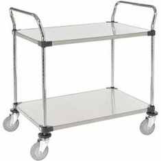 "Nexel Utility Cart 2 Shelf Solid Stainless 24""W x 36""L x 39""H Polyurethane 2 Swivel 2 Brake Casters, Model# 2436P2SSB"