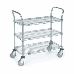 "Nexel Utility Cart 3 Shelf Chrome 18""W x 30""L x 42""H Pneumatic 2 Swivel 2 Rigid Casters, Model# 1830N3C"