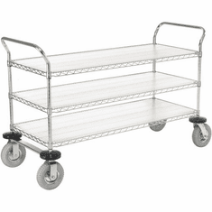 "Nexel Utility Cart 3 Shelf Chrome 21""W x 48""L x 42""H Pneumatic 2 Swivel 2 Rigid Casters, Model# 2148N3C"