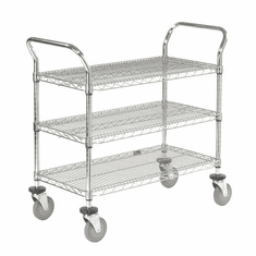 "Nexel Utility Cart 3 Shelf Chrome 24""W x 42""L x 39""H Polyurethane 4 Swivel 2 Brake Casters, Model# 2442P3CB"