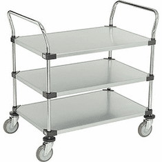 "Nexel Utility Cart 3 Shelf Solid Galvanized 24""W x 48""L x 39""H Polyurethane 4 Swivel 2 Brake Casters, Model# 2448P3SZB"