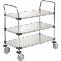 "Nexel Utility Cart 3 Shelf Solid Stainless 24""W x 48""L x 39""H Polyurethane 2 Swivel 2 Brake Casters, Model# 2448P3SSB"