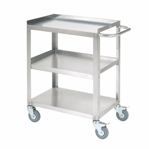 "Nexel Utility Cart 3 Shelf Stainless 16-1/4""W x 24""L x 33""H Rubber Swivel 2 With Brake Casters, Model# SSC1524"
