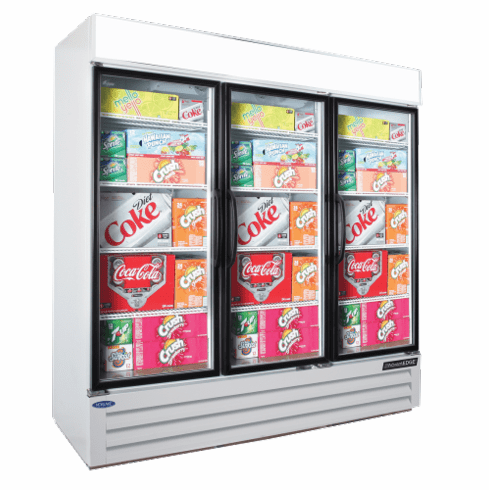 Nor-Lake Refrigerated Merchandiser70.2 Cubic Feet3-DoorBottom Mount CompressorWhite Exterior & Interior 1/2 Hp115V/60/1Cord And PlugNsfUlListed, Model# NLGRP74-HG-W